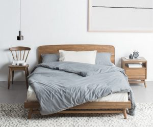 Teak Scandinavian Queen Bed Frame-Indoor Furniture